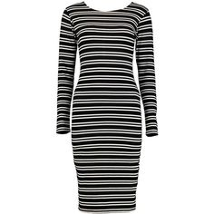 Boohoo Tia Long Sleeve Stripe Midi Dress (186.410 IDR) ❤ liked on Polyvore featuring dresses, long sleeve party dresses, body con dresses, long sleeve dress, long-sleeve skater dresses and long sleeve maxi dress