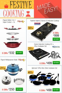 Up to 40% OFF and Easy EMIs on a Fabulous Range of Kitchen Products! Enjoy cooking with emibazaar.com