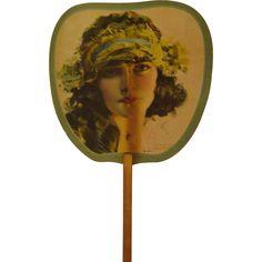 Vintage Rolf Armstrong Cardboard Hand Fan found at www.rubylane.com @rubylanecom