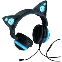 AxentWear x Brookstone Cat Ear Headphones Blue ❤ liked on Polyvore featuring accessories, electronics, headphones, blue and hats