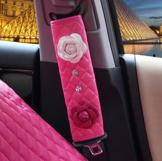 Hot Pink Leather Seat Belt Cover with White and Pink Camellia