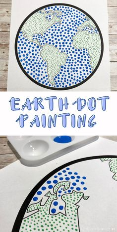 Earth day art. Dot painting with earth template. Easy dot art for kids. Earth Day Activities, Spring Activities, Craft Activities For Kids, Kids Crafts, Activity Ideas, Color Art Lessons, Art Lessons For Kids, Art For Kids, Class Art Projects