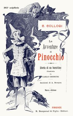 Carlo Chiostri, title page from Le avventure di Pinocchio, storia di un burattino (The adventures of Pinocchio; story of a puppet), by Carlo, Collodi, Florence, 1902.