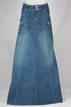 Modest Chic Long Denim Skirt, Sizes 6-18 from The Skirt Outlet