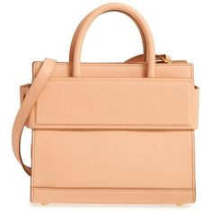 Women's Givenchy 'Mini Horizon' Calfskin Leather Tote (7,460 ILS) ❤ liked on Polyvore featuring bags, handbags, tote bags, beige pink, pink tote bags, structured tote, beige tote, red tote and tote purses
