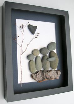 Unique Family Gift and Customized Family Art Work - Pebble Art - Family of Four on Etsy, $70.00 CAD
