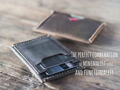 This listing is for one slim mens wallet.  Our newest creation is a hybrid in every sense. It has the full functionality of a bifold wallet but comes in