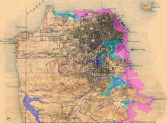 Former San Francisco watershed, with street map and topography.