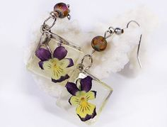 Pansy terrarium earrings square geometrical jewelry purple drop earrings purple…