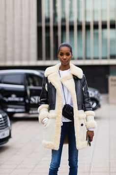 The Best Street Style From London Fashion Week - The Cut Winter Coat, Fall Coats, Sheepskin Coat, Cyberpunk Fashion, Fur Vests, Fur Jackets, Leather Jackets, Shearling Jacket, Fur Fashion
