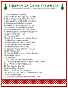 Bring this free printable Christmas Carol Opposites Game to your next Christmas party and watch the fun unfold. : Bring this free printable Christmas Carol Opposites Game to your next Christmas party and watch the fun unfold. Xmas Games, Holiday Games, Holiday Fun, Holiday Trivia, Christmas Song Trivia, Holiday Ideas, Jolly Holiday, Holiday Foods, Free Christmas Printables
