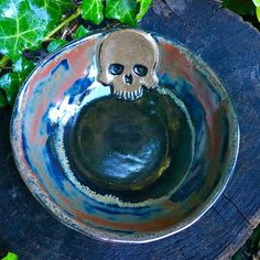 Small Skull Bowl in Black/Red by CrookedCuriosities on Etsy