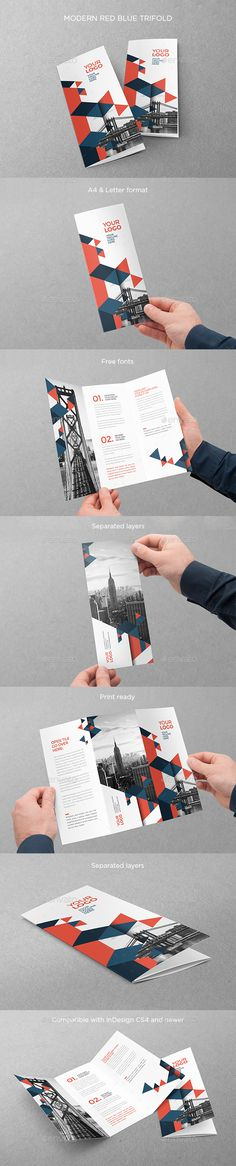 Modern Red Blue Trifold Brochure Template InDesign INDD. Download here: http://graphicriver.net/item/modern-red-blue-trifold/15455864?ref=ksioks