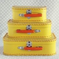 yellow paper suitcase set