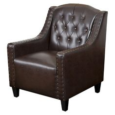 Gabriel Tufted Leather Club Chair Brown - Christopher Knight Home : Target