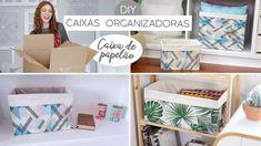 DIY Caixas Organizadoras (transformando caixas de papelão!) - YouTube Diy Casa, Diy Cardboard, Room Closet, Magazine Rack, Home Goods, Diy And Crafts, Decorative Boxes, Sweet Home, Cabinet