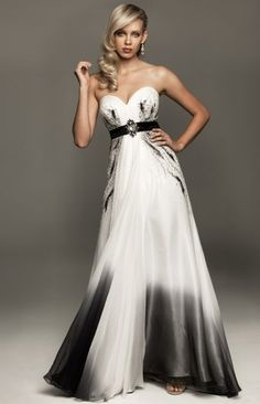White and Black Ombre Chiffon Evenings by Allure Gown A403 at frenchnovelty.com