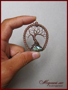 """Винтажный кулон """"Священное дерево Боддхи"""" выполнен из медной проволоки в технике…"""