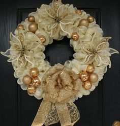 deco mesh red and gold wreaths | Gold and Cream Poinsettia Mesh Christmas Wreath - wreathchic.com