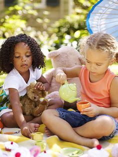 Tea Time  A tea party just isn't a tea party without a gaggle of guests to enjoy the treats. Let the children take their favorite stuffed animals to an afternoon picnic on the lawn. Cups, kettles, and cupcakes make the perfect spread for a playful day in the shade.