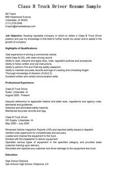 truck drivers resume sample httptopresumeinfotruck drivers - Sample Truck Driver Resume