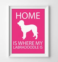 8x10 Labradoodle Wall Art Illustrated Dog Art by pigknit on Etsy