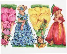 Vintage  German Die-cut Scrap Large Flower Fairy Children (Image1)