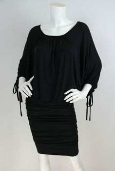 Free People NWT XS Black Modal/Spandex Jersey Batwing Fitted Ruched Skirt Dress  | eBay