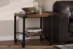 Baxton Studio Gibson Black Finished Metal Wood Occasional End Table