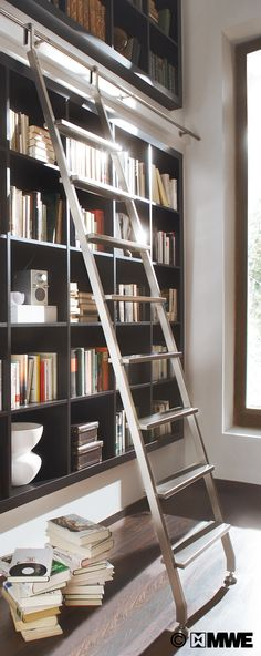 Possible Living Room Bookcase Idea Akzent hook ladder www. Ladder Bookshelf, Library Ladder, Library Wall, Wood Ladder, Bookshelves, Library Ideas, Rolling Ladder, Living Room Bookcase, Modern Library