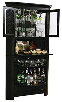 83.75 in. H x 43 in. W x 25.25 in. D (243 lbs.  houses up to 10 wine bottles  Finished in Worn Black with brown undertones on select hardwoods and veneers  Adjustable levelers under each corner provide stability on uneven floors  Pad-LockT cushioned metal shelf clips increase stability and safety  Locking door for added security  Touch-LiteT adjustable light switch offers four levels of lighting: low, medium, high, and off.  Hanging stemware rack keeps stemware handy  Glass mirrored back