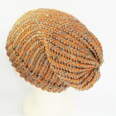 Yellow slouch hat slouchy wool hat recycled yarn hat girls