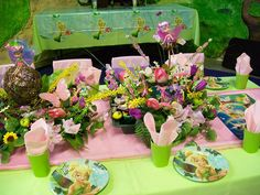 Tinkerbell Birthday Party Table Idea Centerpiece