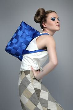 Electric blue Slowbag, upcycled seatbelt bag.