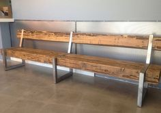 Rustic Modern Patio Furniture, Cedar Wood Bench with with back without can do custom $550 60 inches Steel