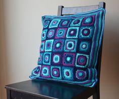 Blue Granny square pillowcase crochet Space by LillaBjornCrochet, $30.00