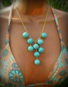 Turquoise Bib Necklace Bubbly Round Aqua Blue Stone by cuppacoffee, $27.00