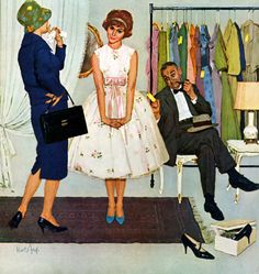 Dad is experiencing sticker shock!! This painting was on the cover of the Saturday Evening Post in April 1959.