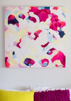 'Paradise Circus' - Jen Sievers- Contemporary New Zealand abstract artist. 76cm x 76cm on stretched canvas. A bold statement piece for your bedroom or lounge - capturing joy and movement. For sale here: http://www.endemicworld.com/paradise-circus-original-painting-by-jen-sievers.html