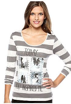 68bd997c122 Circles and Cycles Striped Top with Back Bow  belk  juniors Teen Fashion