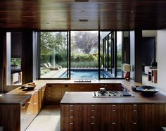 Love this kitchen, without the upper cabinets it keeps it so open