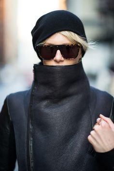 beanie, tortoise sunglasses, leather jacket