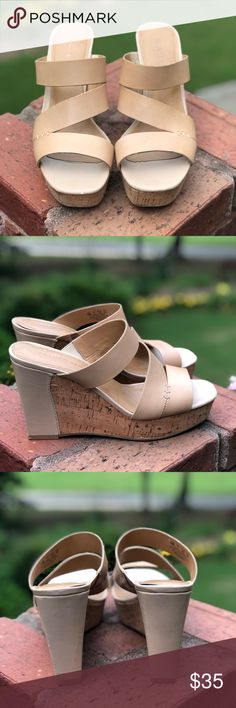133fdb269008 Franco Sarto Leather   Cork Wedge Franco Sarto Leather and Cork Wedge Worn  and in great condition. Size and heel Only flaws are a couple small picks  in ...