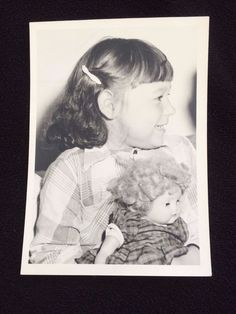 Vintage Photo LITTLE Girl WITH FAVORITE Doll Toy 5 X 7 BLACK & WHITE  FREE SHIP
