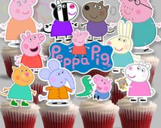 Cupcake Toppers Peppa Pig 1 Printable for by IraJoJoBowtique Pig Birthday, 2nd Birthday Parties, Birthday Ideas, Pig Party, Cupcake Party, The Beast, Cumple George Pig, Cumple Peppa Pig, Pig Cupcakes