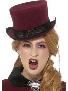 Vampyyritar hattu. Upea viininpunainen silinteri mustalla kukkakoristeella.