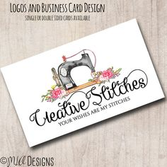 Premade Sewing Logo Sewing Logo Premade Seamstress by MLAdesigns