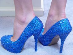 for Chasity, Hand Made Womens Christian Louboutin Style Blue by AmyBolesDesigns, $149.00