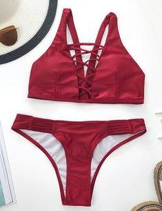 Ecstatic Hot Beach Lace Up Bikini Set