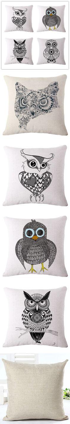 Western Fashion Home Decor Cushion Pillows Sketch Cute Owl Printed Car Home Decorative Throw Pillows Fashion Cushions Cojines $6.99
